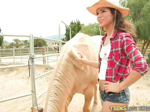 Cocksucking Cowgirl Bent Over And Fucked On The Farm