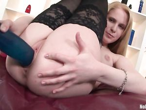 Pretty Blonde Gets Nasty With Huge Rubber Dicks