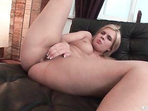 Fat Ass Blonde Teen Likes Both Her Huge Dildos