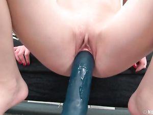 Big Dildos Stretch A Sweet Blonde Teen Pussy