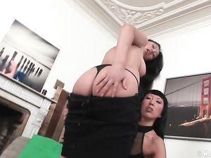 Hot Asian Girls Fucking A Big Strapon Cock Doggystyle