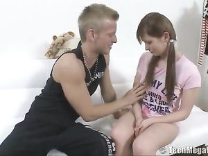Super Cute Teenager Sucks Cock And Gets Fucked