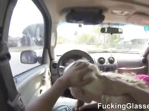 Flirty Blonde Teen Slut Blows Him In The Car