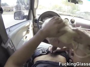 Flirty Blonde Teen Slut Blows Him In The Car