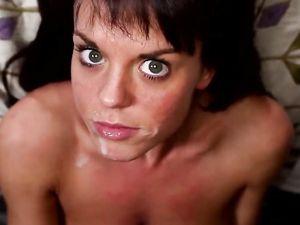 Slutty Brunette Craves That Big Facial Cumshot