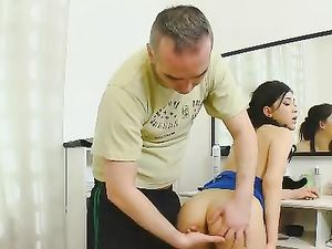 Excited Smooth Pussy Of A Teen Takes His Cock