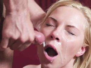 Facial For A Blonde After Doggy Style Fucking