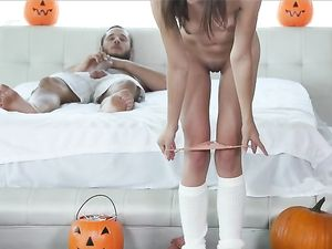 Halloween Fucking With A Young Brunette Hottie