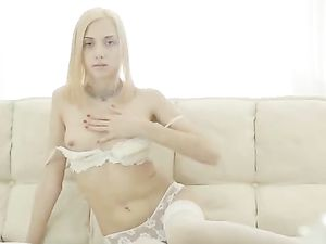 Petite Blonde In White Lingerie Masturbating