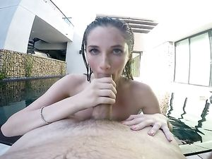 Monster Cock For Her Young Pussy By The Pool